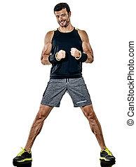 fitness, mann, cardio, boxen, übungen, freigestellt