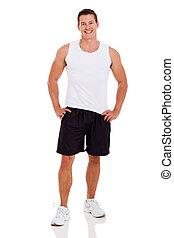 fitness, mann, in, sportkleidung