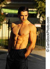fitness, mann, modell, draußen