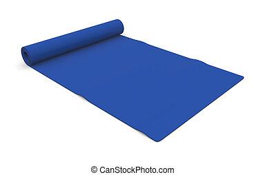 fitness mat - one blue fitness mat on white (3d render)
