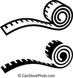 fitness measuring tape black symbol - illustration for the ...