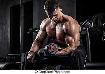 fitness, med, hantlar
