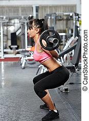 fitness, meisje, barbell, hurkzit