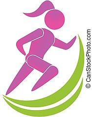 fitness, meisje, pictogram, logo