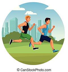 fitness men running