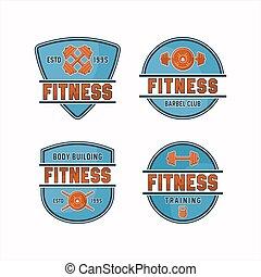 fitness midden, gebouw, logos, lichaam
