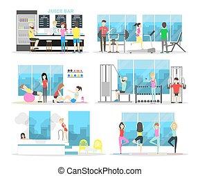 fitness midden, interior.