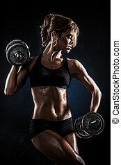 fitness, mit, hanteln