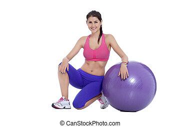 fitness, mit, schweizer kugel
