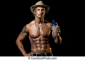 fitness, model, met, proteine verwiken