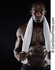 fitness, modell, nach, workout