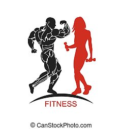 Fitness muscled man and woman