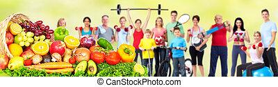 fitness, nourriture., groupe, gens