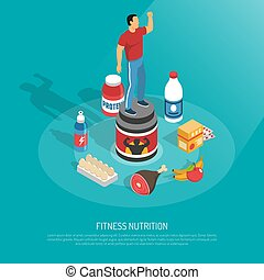 Fitness Nutrition Supplements Isometric Poster