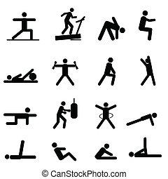 fitness, och, övning, ikonen