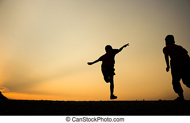 Fitness on silhouette sunrise The boy running workout wellness concept.