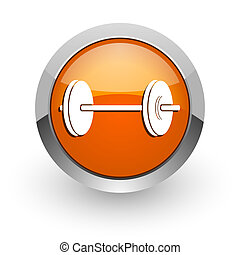 fitness orange glossy web icon