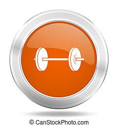 fitness orange icon, metallic design internet button, web and mobile app illustration