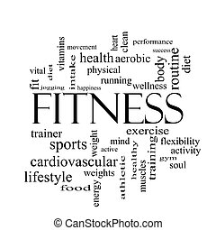 fitness, ord, moln, begrepp, in, svartvitt