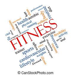 fitness, ord, moln, begrepp, meta