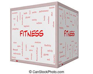 fitness, ord, moln, begrepp, på, a, 3, kub, whiteboard