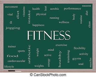 fitness, ord, moln, begrepp, på, a, blackboard