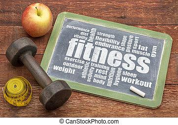 fitness, ord, moln, på, blackboard
