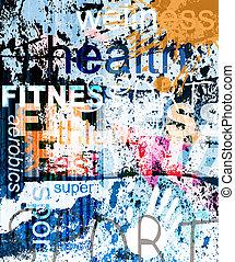 fitness., palavra, grunge, colagem, ligado, experiência.