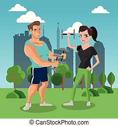 Fitness people at park