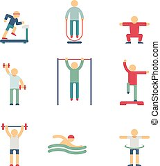 Fitness people color icons
