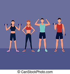 fitness people doing exercise