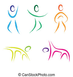 fitness people  - vector fitness people icon set