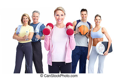 Group of healthy fitness people. Over white background