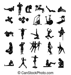 fitness people silhoulette. Vector Illustration.. Collection set