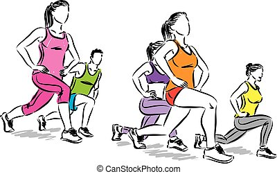 fitness people stretching vector illustration