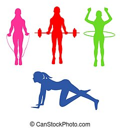 fitness, Pilates, sport, icons, vector illustration
