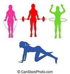 fitness, Pilates, sport, icons, vector illustration
