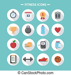 fitness, plat, stijl, set, iconen