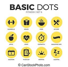 fitness, plat, vecteur, ensemble, icônes