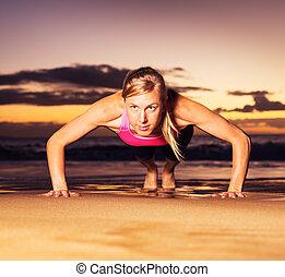 fitness, poussée, augmente, femme