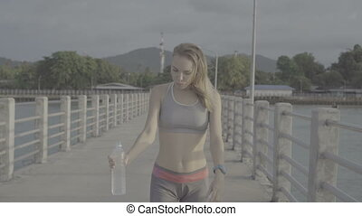 Fitness pretty blonde woman