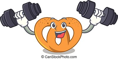 Fitness pretzel character cartoon style