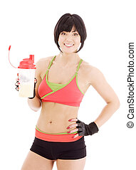 fitness, protéine, instructeur, secousse