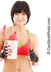fitness, proteïne, instructeur, schudden