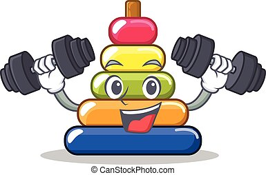 Fitness pyramid ring character cartoon
