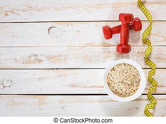 fitness, ram, med, energi, frukost