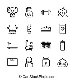 Fitness related icon set. Vector illustration