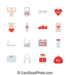 Fitness related in flat icon set. Vector illustration