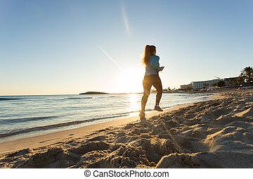 fitness, rennender , frau, sonnenuntergang ozean