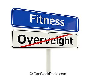 Fitness road sign isolated on white background